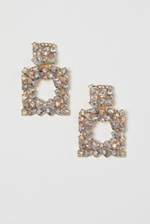 Handm H M Large Rhinestone Earrings Gold
