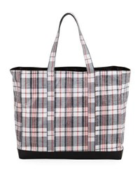 Helmut Lang Woven Plaid Shopping Bag Red
