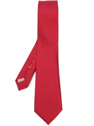 Canali Woven Silk Tie Red