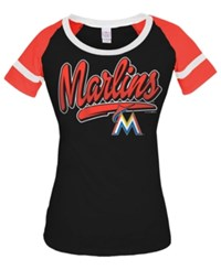 5Th And Ocean Women's Miami Marlins Homerun T Shirt Black