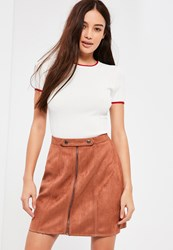 Missguided Brown Tab Detail Zip Through Faux Suede Mini Skirt Nude