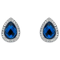 Monet Glass Crystal Teardrop Stud Earrings Silver Blue