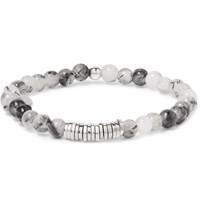 Tateossian Quartz And Silver Bead Bracelet Gray