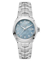 Tag Heuer Diamonds Mother Of Pearl And Stainless Steel Link Bracelet Watch Silver