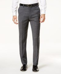 Ben Sherman Men's Slim Fit Gray Windowpane Plaid Suit Pants Grey