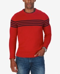 Nautica Men's Chest Stripe Crew Neck Sweater Only At Macy's Nautica Red