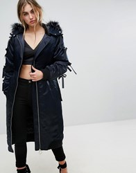 Lost Ink Oversized Parka Jacket In Satin With Faux Fur Hood And Ribbon Ties Navy