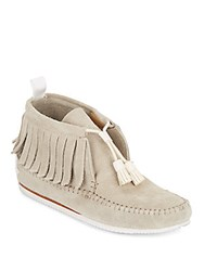 Rag And Bone Brixton Suede Fringed Moccasin Ankle Boots Stone