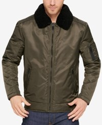 Kenneth Cole Men's A1 Bomber Jacket With Removable Collar Olive