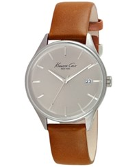Kenneth Cole New York Men's Brown Leather Strap Watch 42Mm 10029307