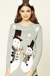Forever 21 Snowman Holiday Sweater Heather Grey Multi