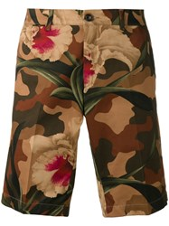 Moncler Floral Camouflage Shorts Men Cotton 52 Brown