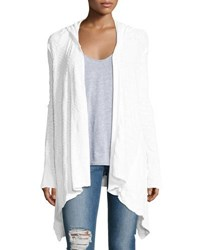 Lamade Dani Hooded Open Front Cardigan White
