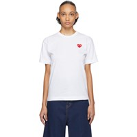 Comme Des Garcons Play White And Red Fit Heart Patch T Shirt