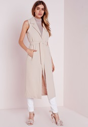 Missguided Sleeveless Belted Longline Duster Coat Nude Grey