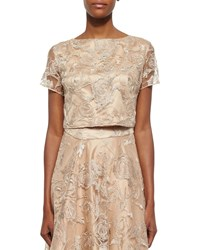 Kay Unger New York Short Sleeve Lace Cropped Top Tan