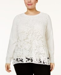 Inc International Concepts Plus Size Lace Top Only At Macy's Washed White