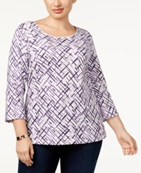 Karen Scott Plus Size Floral Print 3 4 Sleeve T Shirt Created For Macy's Winter White