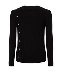 Versus By Versace Studded Cable Knit Sweater Black