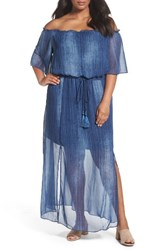 London Times Plus Size Women's Off The Shouider Maxi Dress Denim