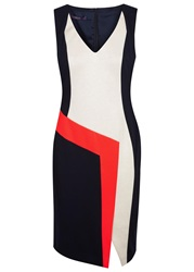 Laurel Tri Tone Panelled Jersey Dress Navy