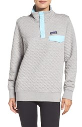 Patagonia Women's Quilted Pullover Drifter Grey Cuban Blue