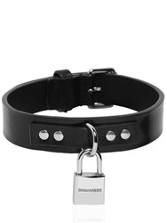 Dsquared Leather Dog Ollar W Detachable Logo Black Palladium
