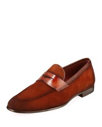 Magnanni Suede Penny Loafer Brown
