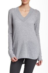 Cullen Hi Lo Wide V Neck Cashmere Sweater Gray