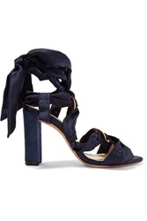 Alexandre Birman Alessa Lace Up Satin And Suede Sandals Midnight Blue