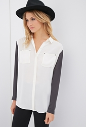 Forever 21 Colorblocked Chiffon Button Down Shirt Cream Dark Grey