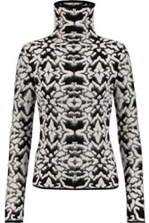 Giambattista Valli Maglia Jacquard Knit Turtleneck Sweater Black