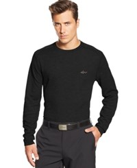 Greg Norman For Tasso Elba Big And Tall Solid Waffle Knit Performance Golf Shirt Black