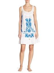 Melissa Odabash Jaz Embroidered Drop Waist Cover Up White Electric Blue