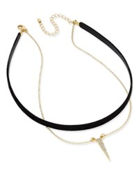 Inc International Concepts Gold Tone Pave Triangle Faux Leather Double Row Necklace Only At Macy's Black