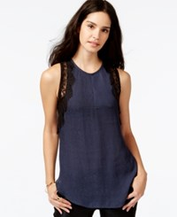 Rachel Rachel Roy Sleeveless Lace Contrast Top Cadet