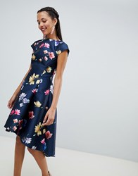 Chi Chi London Floral Printed Skater Dress With Cap Sleeve Navy Multi