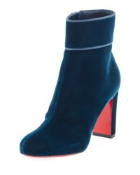 Christian Louboutin Moulamax Velvet 85Mm Red Sole Boot Blue