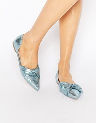Asos Lady Pointed Ballet Flats Blue Metallic
