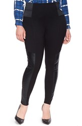 Plus Size Women's Eloquii Quilted Faux Leather Panel Leggings