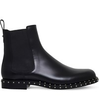 Valentino Studded Leather Chelsea Boots Black