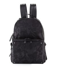 Valentino Camu Butterfly Printed Nylon Backpack Black
