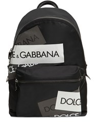 Dolce And Gabbana Logo Tech Canvas Backpack Black