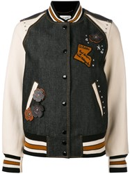 Coach Embellished Varsity Jacket Women Cotton Sheep Skin Shearling Viscose 4 Black