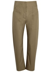Adam By Adam Lippes Mushroom High Waisted Cropped Trousers Khaki