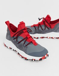 Timberland Brooklyn Hiker Trainers In Grey And Red