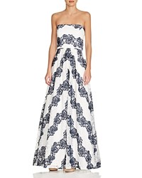 Avery G Strapless Lace Gown Navy White