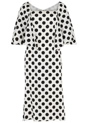 Dolce And Gabbana Monochrome Polka Dot Silk Dress White And Black