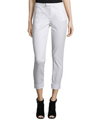 Atm Anthony Thomas Melillo Stretch Twill Cropped Slim Fit Pants White Women's