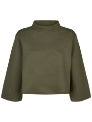 Jaeger Jersey Ribbed Funnel Neck Top Khaki